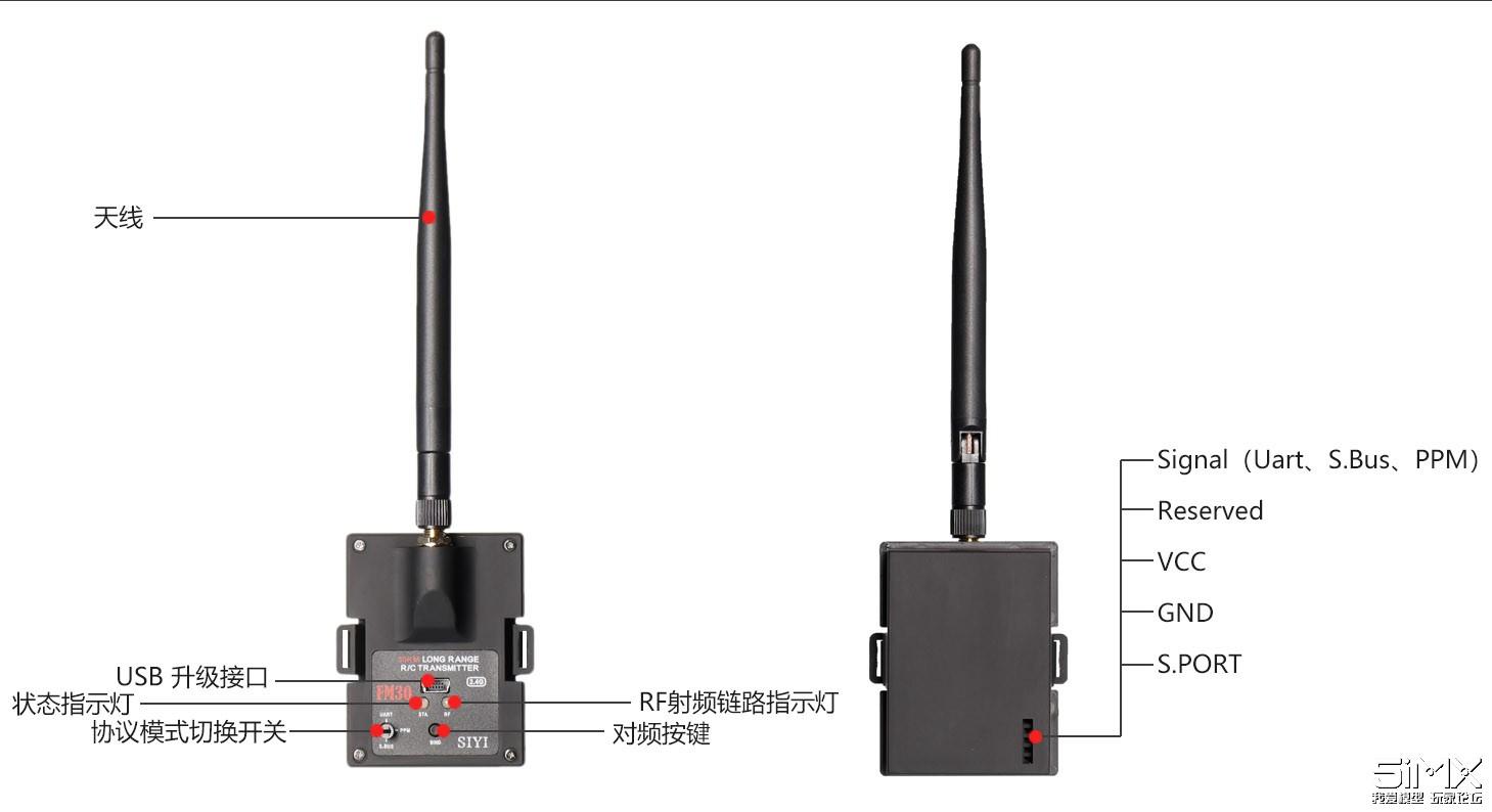 SIYI思翼科技发布30KM数遥一体蓝牙高频头FM30 包含接收机249元